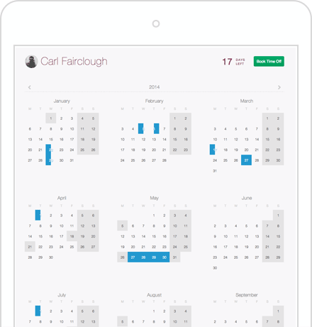 Timetastic user calendar on a tablet