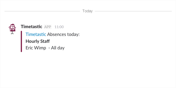 Slack daily summary of absence